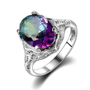 Jewelry - Genuine Fire Mystic Topaz Sterling Silver Ring